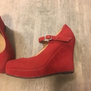 Modcloth red wedge shoes